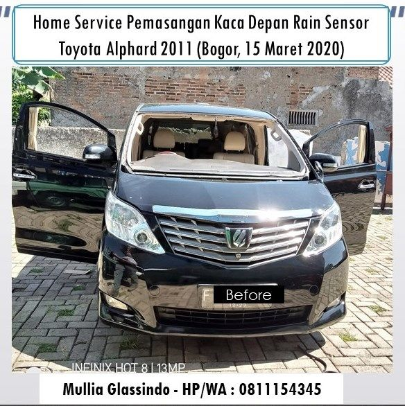 Home Service Luar Kota:  Pemasangan Kaca Depan Alphard Vellfire di Bogor (15 Maret 2020)